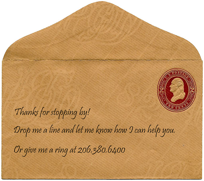 An envelope of gratitude and contact info.