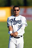 Yosbel Gutierrez #19 of the Hillsboro Hops before a game against the Spokane Indians at Hillsboro Ballpark on July 22, 2013 in Hillsboro Oregon. Spokane defeated Hillsboro, 11-3. (Larry Goren/Four Seam Images)