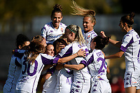 Daniela Sabatino of ACF Fiorentina celebrates with tem mates after scoring the goal of 0-1 during the women Serie A football match between AS Roma and ACF Fiorentina at Tre Fontane Stadium in Roma (Italy), November 7th, 2020. Photo Andrea Staccioli / Insidefoto