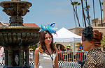 DEL MAR, CA  JULY 16: Young woman being interviewed by the fountain. (Photo by Casey Phillips/ Eclipse Sportswire/ CSM)