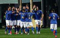Italy's Lorenzo Pellegrini, third from left, celebrates with his teammates after scoring during the for UEFA Nations League football match between Italy and Netherlands at Bergamo's Atleti Azzurri d'Italia stadium, October 14, 2020.<br /> UPDATE IMAGES PRESS/Isabella Bonotto