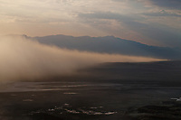 aerial photograph of a late afternoon dust storm in Death Valley National Park, northern Mojave Desert, California
