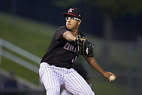 Kannapolis Intimidators relief pitcher Andrew Perez (14) in action against the Rome Braves at Kannapolis Intimidators Stadium on April 4, 2019 in Kannapolis, North Carolina.  The Braves defeated the Intimidators 9-1. (Brian Westerholt/Four Seam Images)