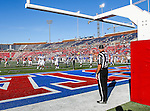 Back judge Kenny Long watches the action during the game between the Memphis Tigers and the Southern Methodist Mustangs at the Gerald J. Ford Stadium in Dallas, Texas. Memphis defeats SMU 48 to 3.