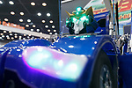 J-deite Quarter a robot transforming between humanoid and vehicle on display during SoftBank Robot World 2017 on November 21, 2017, Tokyo, Japan. SoftBank Robotics organized SoftBank Robot World 2017 to introduce AI (Artificial Intelligence) and IoT (the Internet of Things) companies developing the latest technology for robots, including applications its humanoid robot Pepper in various business fields. The robot expo runs until November 22. (Photo by Rodrigo Reyes Marin/AFLO)