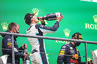 29th August 2021; Spa Francorchamps, Stavelot, Belgium: FIA F1 Grand Prix of Belgium,  race day: podium RUSSELL George (gbr), Williams Racing F1 FW43B on the podium after the formation laps in heavy rain before cancellation of the race due to standing water