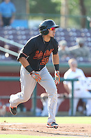 Sebastian Elizalde #20 of the Bakersfield Blaze runs to first base during a game against the Inland Empire 66ers at San Manuel Stadium on August 21, 2014 in San Bernardino, California. Inland Empire defeated Bakersfield, 3-1. (Larry Goren/Four Seam Images)