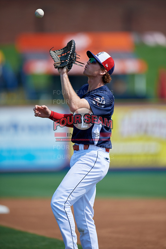 Reading Fightin Phils first baseman Zach Green (12) settles under a pop up during the first game of a doubleheader against the Portland Sea Dogs on May 15, 2018 at FirstEnergy Stadium in Reading, Pennsylvania.  Portland defeated Reading 8-4.  (Mike Janes/Four Seam Images)