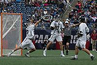 Foxborough, Massachusetts - May 28, 2018:  NCAA Division I Lacrosse final.  Yale University (white) defeated Duke University (blue/white) 13-11 at Gillette Stadium.