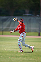 Philadelphia Phillies Carlos De La Cruz (53) during a Minor League Extended Spring Training game against the Atlanta Braves on April 20, 2018 at Carpenter Complex in Clearwater, Florida.  (Mike Janes/Four Seam Images)