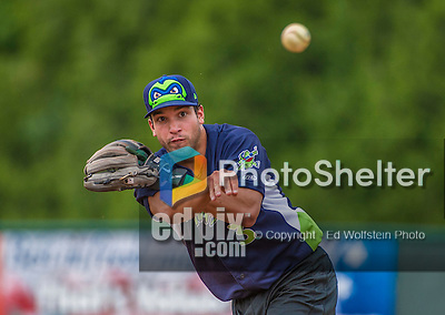 16 June 2014: Vermont Lake Monsters infielder Joe Bennie warms up prior to a game against the Connecticut Tigers at Centennial Field in Burlington, Vermont. The Lake Monsters fell to the Tigers 3-2 in NY Penn League action. Mandatory Credit: Ed Wolfstein Photo *** RAW Image File Available ****