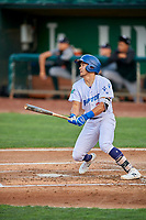 Zac Ching (25) of the Ogden Raptors at bat against the Grand Junction Rockies at Lindquist Field on September 9, 2019 in Ogden, Utah. The Raptors defeated the Rockies 6-5. (Stephen Smith/Four Seam Images)