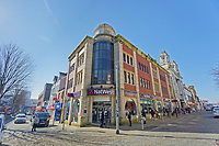 Pictured: A queue of customers outside NatWest Bank in Oxford Street, in the city centre of Swansea, Wales, UK. Wednesday 25 March 2020 <br /> Re: Covid-19 Coronavirus pandemic, UK.