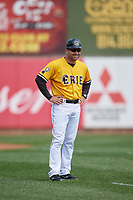 Erie SeaWolves coach Mike Rabelo (58) during an Eastern League game against the Altoona Curve and on June 4, 2019 at UPMC Park in Erie, Pennsylvania.  Altoona defeated Erie 3-0.  (Mike Janes/Four Seam Images)