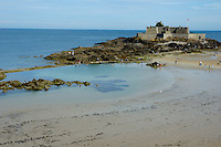 Old coastal fort protecting the city, Saint-Malo, Brittany, France.