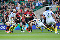 Alex Goode of Saracens breaks through the tackle of Lee Byrne of ASM Clermont Auvergne during the Heineken Cup semi-final match between Saracens and ASM Clermont Auvergne at Twickenham Stadium on Saturday 26th April 2014 (Photo by Rob Munro)