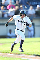 Nelson Ward #2 of the Everett AquaSox runs to first base during a game against the Boise Hawks at Everett Memorial Stadium on July 25, 2014 in Everett, Washington. Everett defeated Boise, 3-1. (Larry Goren/Four Seam Images)