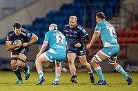 8th January 2021; AJ Bell Stadium, Salford, Lancashire, England; English Premiership Rugby, Sale Sharks versus Worcester Warriors; Josh Beaumont of Sale Sharks powers towards Niall Annett of Worcester Warriors