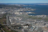 aerial photograph of the international terminal  at San Francisco International airport (SFO) towardSan Bruno mountain and downtown San Francisco, California