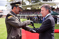 BOGOTÁ -COLOMBIA, 17-08-2013. Aspecto de la ceremonia de entrega del bastón de mando en la cual se posesionó como director general de la Policía Nacional de Colombia el mayor general Rodolfo Palomino López en el campo de paradas de la  Escuela de Cadetes General Santander en Bogotá./ Aspect of the ceremony of the staff of command delivery where the mayor general Rodolfo Palomino Lopez toke over as general director of National Police of Colombia at the stops field in the General Santander Cadet School in Bogota. Photo: VizzorImage/- Javier Casella - SIG / HANDOUT PICTURE; THIS PICTURE IS DISTRIBUITED AS A SERVICE TO  SUBSCRIBERS/ MANDATORY USE EDITORIAL ONLY/