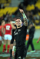 TJ Perenara waves to fans after the Steinlager Series rugby union match between the New Zealand All Blacks and Wales at Westpac Stadium, Wellington, New Zealand on Saturday, 18 June 2016. Photo: Dave Lintott / lintottphoto.co.nz
