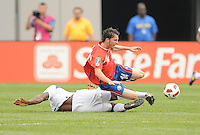 Costa Rica Brian Ovideo Gets Fouled.  Honduras defeated Costa Rica in Penalty Kick 4-2 in the quaterfinals for the 2011 CONCACAF Gold Cup , at the New Meadowlands Stadium, Saturday June 18, 2011.