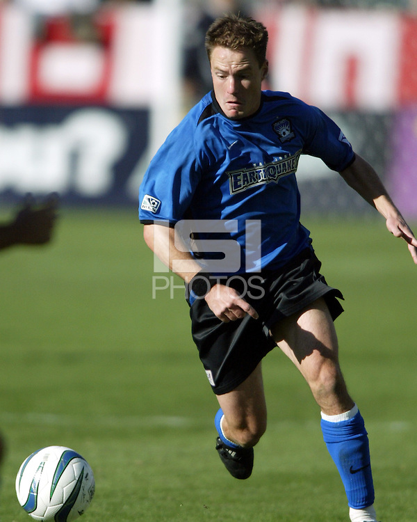 Richard Mulrooney in action during MLS Cup 2003.  The San Jose Earthquakes defeated the Chicago Fire 4-2 in the MLS Championship at The Home Depot Center on November 23, 2003.
