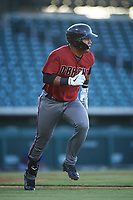 AZL Dbacks Sergio Gutierrez (9) runs to first base during an Arizona League game against the AZL Cubs 2 on June 25, 2019 at Sloan Park in Mesa, Arizona. AZL Cubs 2 defeated the AZL Dbacks 4-0. (Zachary Lucy/Four Seam Images)