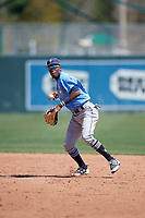 Tampa Bay Rays Osmy Gregorio (43) during a Minor League Spring Training game against the Minnesota Twins on March 17, 2018 at CenturyLink Sports Complex in Fort Myers, Florida.  (Mike Janes/Four Seam Images)