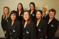 NZ women's team, back row: Lisa Wright, Caroline Bon, Emily Perry, Zoe Brake; front row: Cecilia Cho, Lydia Ko, Liv Cheng, Erin Hawe. Trans-Tasman NZ teams at Royal Wellington Golf Club, Wellington, New Zealand on Sunday, 28 March 2010. Photo: Dave Lintott / lintottphoto.co.nz