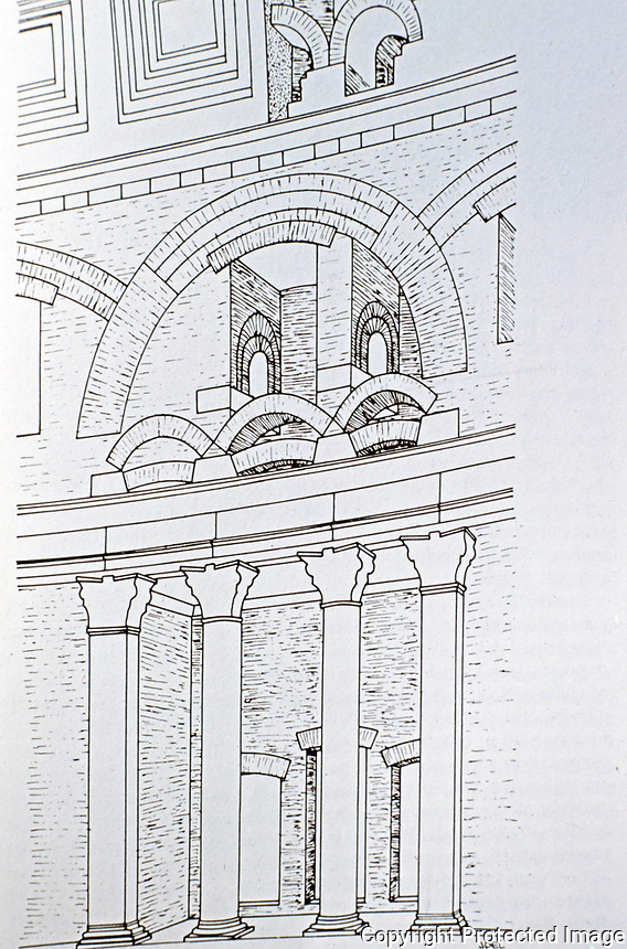 Drawing of the wall system of the Pantheon, Rome Italy, 118 - 125 CE