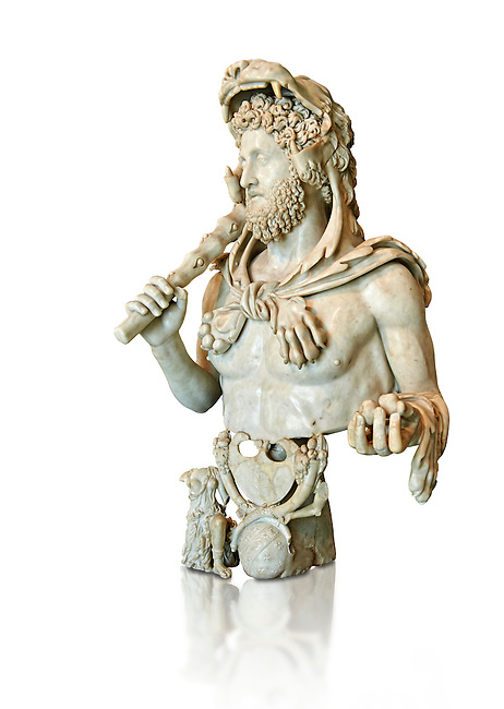 Roman marble bust of Commodus as Hercules. Circa191-192 AD found in an underground chamber in the Horti Lamiani area of Rome. The son of Marcus Aurelus is shown with the features of Hercules and is characterised by Greek hero's attributes: the lion's skin, the club, the apples of Hesperides. The character is accompanied by fantastic sea creatures in a composition symbolising his apotheosis. The work can be dated to the final period of the life of Commodus, between 191-192 AD. Commodus was one of Rome's bad crazy Emperors being sadistic and debauched with a harem of 300 concubines to choose from. His favourite role playing character was that of Hercules and Commodus ordered many statues to be made showing him dressed as Hercules with a lion's hide and a club. He thought of himself as the reincarnation of Hercules, frequently emulating the legendary hero's feats by appearing in the arena to fight a variety of wild animals. Commodus raised the ire of many military officials in Rome for his Hercules persona in the arena. Often, wounded soldiers and amputees would be placed in the arena for Commodus to slay with a sword. Commodus's eccentric behaviour would not stop there. Citizens of Rome missing their feet through accident or illness were taken to the arena, where they were tethered together for Commodus to club to death while pretending they were giants.[17] These acts may have contributed to his assassination. Such ruthless antics probably led to the violent death of Commodus when a wrestler assassinated him by strangling him to death. MC.1120 Capitoline Museums, Rome