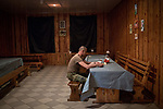 UKRAINE: Frontline of Granitne. A Ukrainian soldier takes his dinner in the canteen of his rear base.<br /> <br /> UKRAINE: Frontline of Granitne. Un soldat ukrainien prend son diner dans la cantine de sa base arrière.