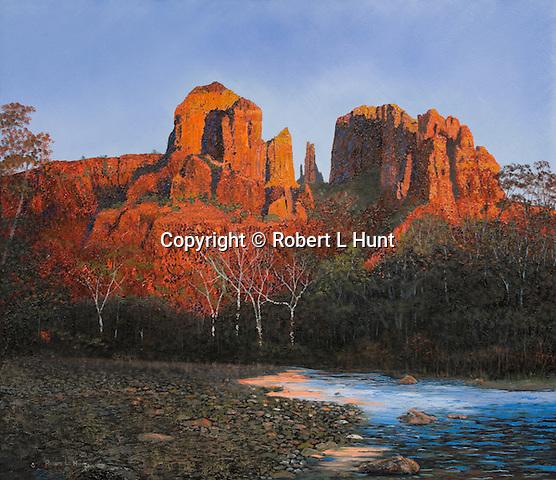 "Cathedral Rocks glowing  beautifully in sunset light near Sedona, Arizona. Oil on canvas, 23"" x 27""."