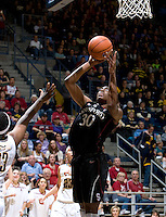 Berkeley, CA - March 4th, 2012: Nnemkadi Ogwumike of Stanford shoots the ball during a basketball game against California in Berkeley, California.   Stanford won, 86-61.