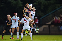 STANFORD, CA - November 21, 2014: Stephanie Amack and Andi Sullivan during the Stanford vs Arkansas women's second round NCAA soccer match in Stanford, California.  The Cardinal defeated the Razorbacks 1-0.