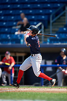 Lowell Spinners second baseman Grant Williams (11) hits a triple during a game against the Staten Island Yankees on August 22, 2018 at Richmond County Bank Ballpark in Staten Island, New York.  Staten Island defeated Lowell 10-4.  (Mike Janes/Four Seam Images)