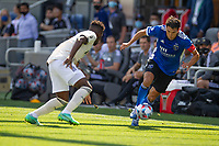 SAN JOSE, CA - AUGUST 8: Shea Salinas #6 during a game between Los Angeles FC and San Jose Earthquakes at PayPal Stadium on August 8, 2021 in San Jose, California.