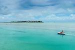 Paddle boat on lagoon in Aitutaki, Cook Islands