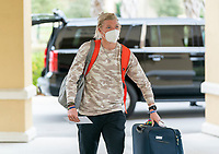 ORLANDO, FL - FEBRUARY 8: Jane Campbell #24 of the USWNT arrives at the team hotel on February 8, 2021 in Orlando, Florida.