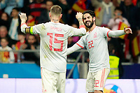 Spain's Sergio Ramos (l) and Isco Alarcon celebrate goal during international friendly match. March 27,2018. *** Local Caption *** © pixathlon<br /> Contact: +49-40-22 63 02 60 , info@pixathlon.de