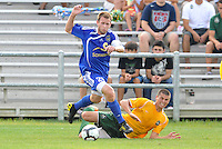 Ely Allen (blue), Mark Bloom (stl)...AC St Louis and NSC Minnesota Stars played to a 2-2 tie at Anheuser-Busch Soccer Park, Fenton, Missouri.