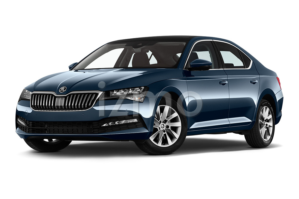 Stock pictures of low aggressive front three quarter view of a 2020 Skoda Superb Ambition 5 Door Hatchback