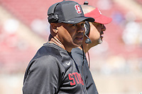 Stanford, CA - September 15, 2018: David Shaw, head coach, during the Stanford vs UC Davis football game Saturday at Stanford Stadium.<br /> <br /> The Cardinal scored 30. UC Davis 10.