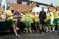 1st May 2021; Carrow Road, Norwich, Norfolk, England, English Football League Championship Football, Norwich versus Reading; Oliver Skipp of Norwich City celebrates with fans after winning the EFL championship