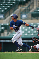 GCL Rays outfielder Oscar Rojas (6) at bat during the second game of a doubleheader against the GCL Orioles on August 1, 2015 at the Ed Smith Stadium in Sarasota, Florida.  GCL Orioles defeated the GCL Rays 11-4.  (Mike Janes/Four Seam Images)