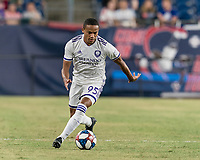 FOXBOROUGH, MA - JULY 28: Robinho #95 dribbles at midfield during a game between Orlando City SC and New England Revolution at Gillette Stadium on July 27, 2019 in Foxborough, Massachusetts.