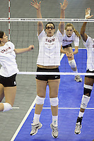Omaha, NE - DECEMBER 20:  Middle blocker Stephanie Browne #15 of the Stanford Cardinal during Stanford's 2008 NCAA Division I Women's Volleyball Final Four Championship closed practice before playing the Penn State Nittany Lions on December 20, 2008 at the Qwest Center in Omaha, Nebraska.