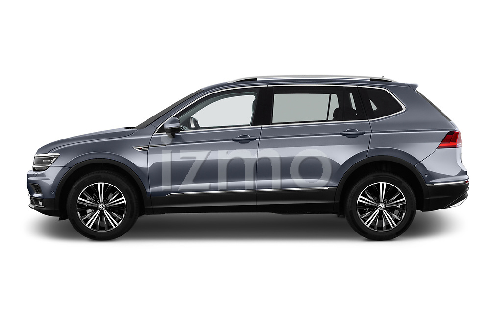 Car driver side profile view of a 2018 Volkswagen Tiguan Allspace Highline 5 Door SUV