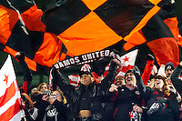 D. C. United fans celebrate the victory. D. C. United defeated the New York Red Bulls 1-0 (2-1 in aggregate) during the second leg of the MLS Eastern Conference Semifinals at Red Bull Arena in Harrison, NJ, on November 8, 2012.
